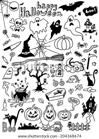 hand-drawn Halloween doodles  - stock vector