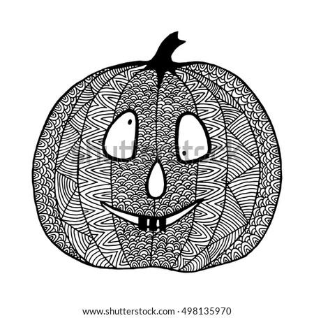 Hand drawn halloween pumpkin crazy spooky stock vector for Funny pumpkin drawings