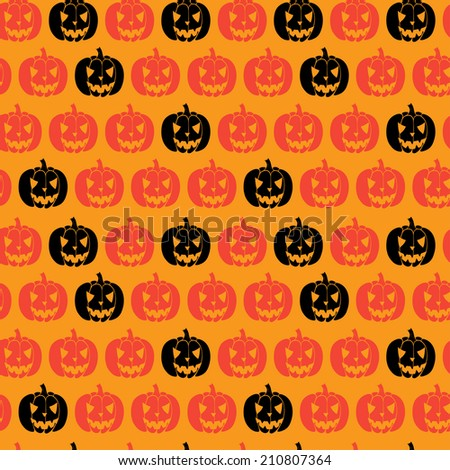 Hand drawn halloween seamless pattern with cartoon spooky Jack-o'-lanterns. Tiling background with doodle pumpkin silhouettes.