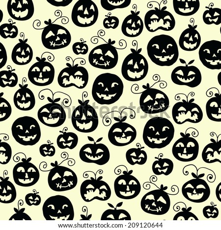 Hand drawn halloween seamless pattern with cartoon spooky Jack-o'-lanterns.  Vector illustration. Tiling background with doodle pumpkin silhouettes. (Halloween pumpkins). - stock vector