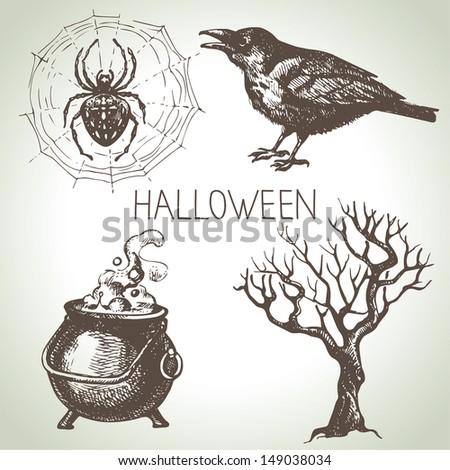 Hand drawn halloween set  - stock vector