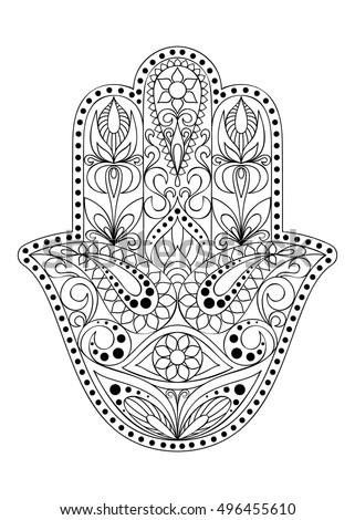 Hamsa hand coloring page sketch coloring page - Coloriage main de fatma ...