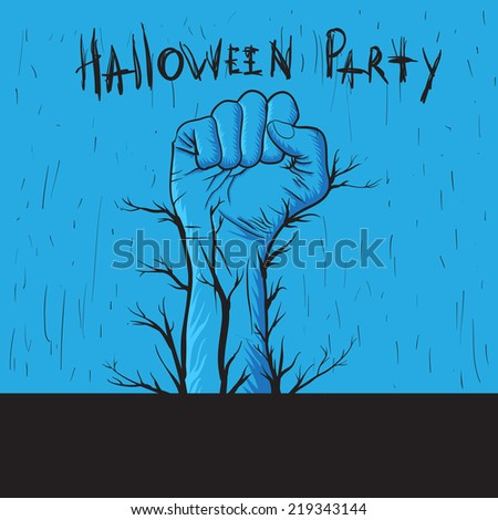 Hand drawn hand for invitation on Halloween party - stock vector
