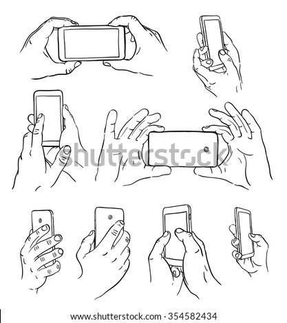 Hand drawn hands with mobile phone. Vector illustration