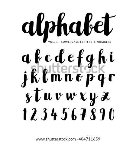 Hand Drawn Handwritten Vector Alphabet Brush Script Font Isolated Letters Written With