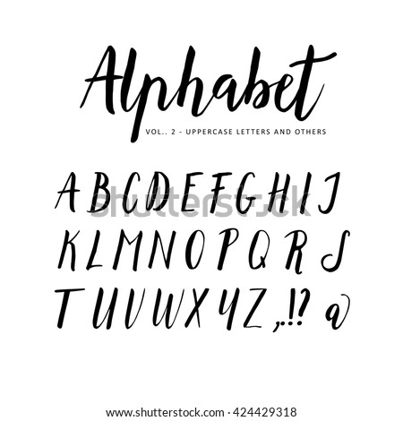 Hand drawn, handwritten vector alphabet. Script brush font. Isolated letters written with marker, ink. Calligraphy, lettering.  - stock vector
