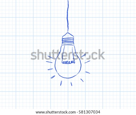 Light Bulb Drawing On Graph Paper Stock Vector