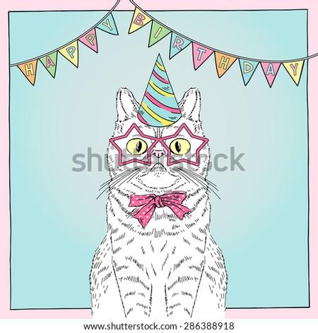 hand drawn happy birthday card with funny cat, greeting art, congratulatory design - stock vector