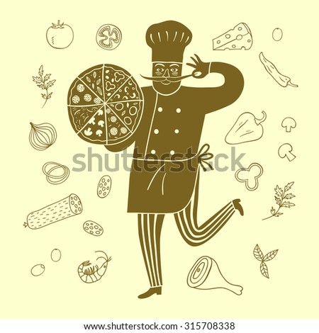 Hand drawn happy chief with pizza and doodle food on background.Cook illustration for your design