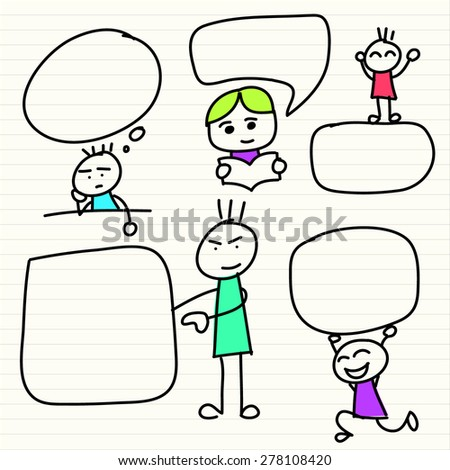 Hand drawn happy kids - stock vector