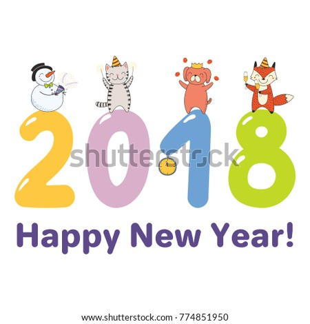 Asian new year funnynewst of the funny meme stock vector hand drawn happy new year greeting card banner template with cute funny cartoon animals m4hsunfo Gallery
