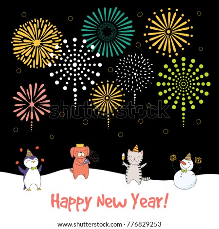 Hand Drawn Happy New Year 2018 Greeting Card, Banner Template With Cute  Funny Cartoon Animals