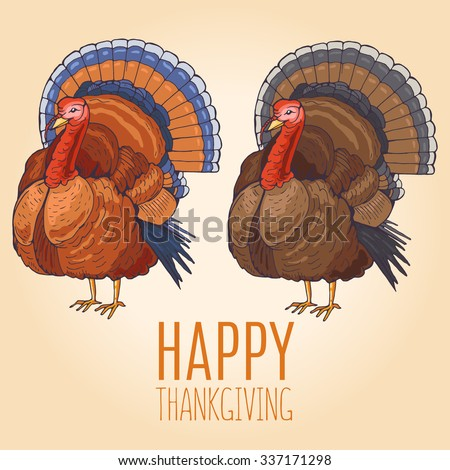 Hand drawn Happy Thanksgiving day design with turkey - stock vector