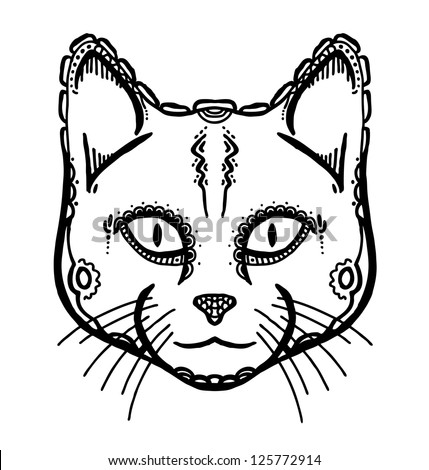 Hand drawn head of cat, vector illustration, ancient style - stock vector