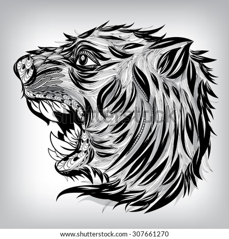 Hand Drawn Head of Tiger Illustration, Vector background EPS10  - stock vector