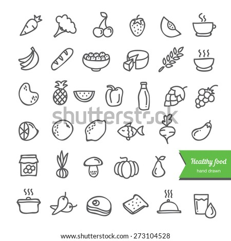 Hand drawn healthy food collection. Doodle icons on white background: fruit, vegetables, milk, bread, meat, fish