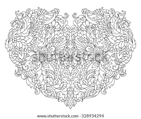 Hand drawn heart for adult anti stress. Coloring page with high details isolated on white background. Made by trace from sketch. Zentangle pattern for relax and meditation.  - stock vector