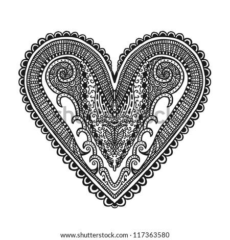 Hand drawn heart, illustration design element - stock vector