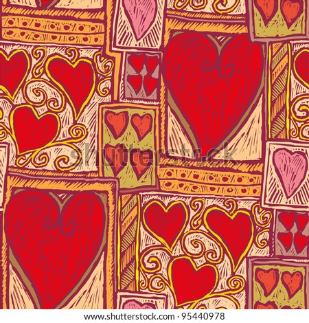 Hand drawn heart pattern in engrave style Select all the art and drop it into your swatches palette to create an Adobe Illustrator pattern. - stock vector