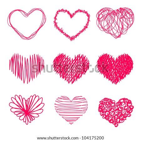 Hand drawn heart shape - Vector - stock vector