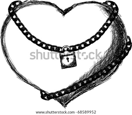 hand-drawn heart with chain & lock - stock vector