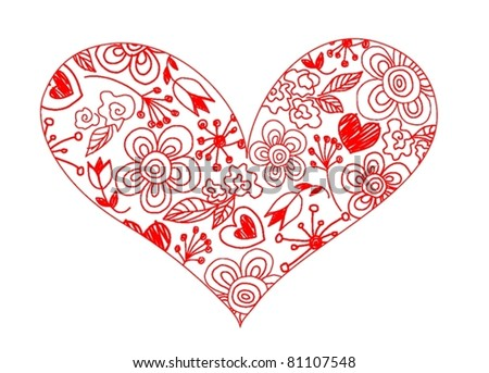 hand drawn Heart with flowers - stock vector