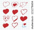 Hand drawn hearts - stock vector