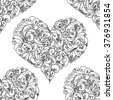 Hand drawn hearts. Seamless pattern. Use it as pattern fills. Adult coloring book page. Joy to adult colorists, who like art, relax and meditation. - stock vector