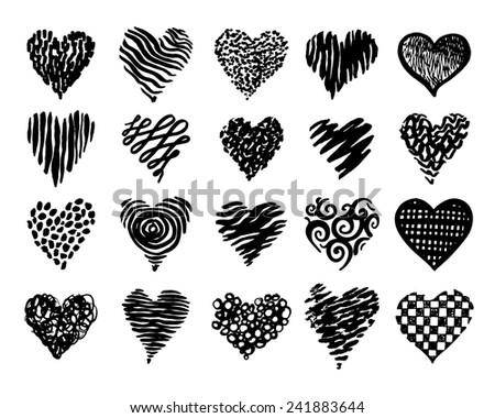 Hand drawn hearts set for your design.
