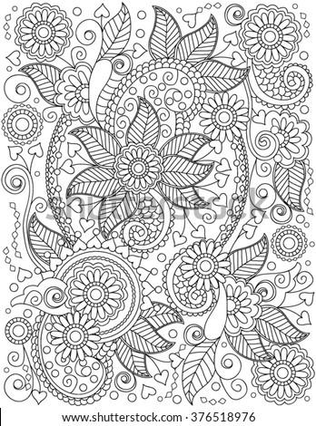 Handdrawn Henna Abstract Mandala Flowers Paisley Stock