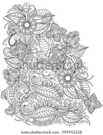 Handdrawn Henna Abstract Mandala Flowers Paisley Stock Vector 308889962