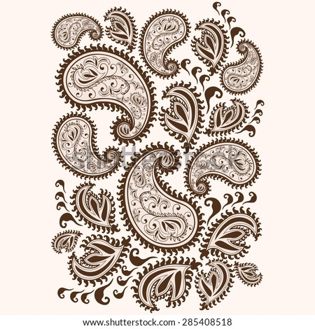 Hand-Drawn Henna Mehndi Abstract Mandala Flowers and Paisley Doodle Vector Illustration Design Elements