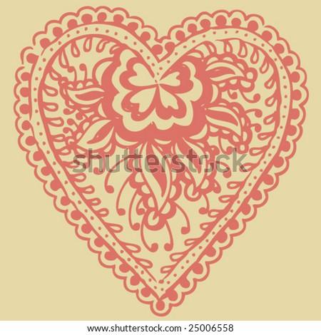 Hand Drawn Henna/Mehndi Illustration - stock vector