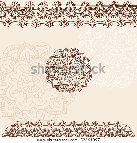 Hand-Drawn Henna Mehndi Tattoo Flowers and Paisley Border Doodle Vector Illustration Design Elements - stock vector