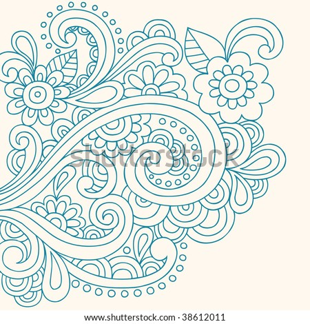 Hand-Drawn Henna Paisley and Flowers Abstract Doodle Vector Illustration - stock vector