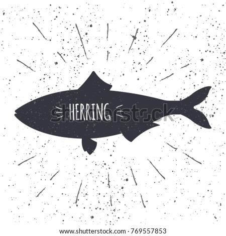 hand drawn herring icon fish in black and white color with textured background design element