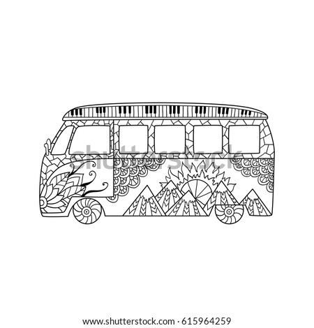 Hand Drawn Hippie Car A Mini Van For Anti Stress Colouring Page Pattern Coloring