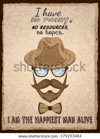 Hand drawn hipster poster print with glasses beard mustache hat and pipe vector illustration - stock vector