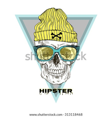 hand drawn hipster skull in beanie hat and glasses, t-shirt design - stock vector