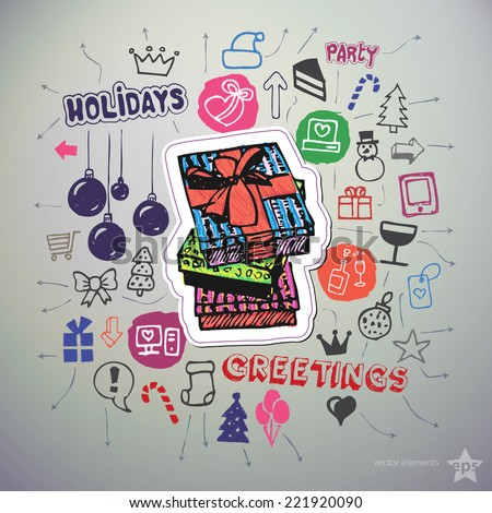 Hand drawn holiday icons set and sticker with gift boxes. Vector
