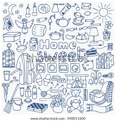 Hand Drawn Home Set On Squared Stock Vector 348011600 - Shutterstock