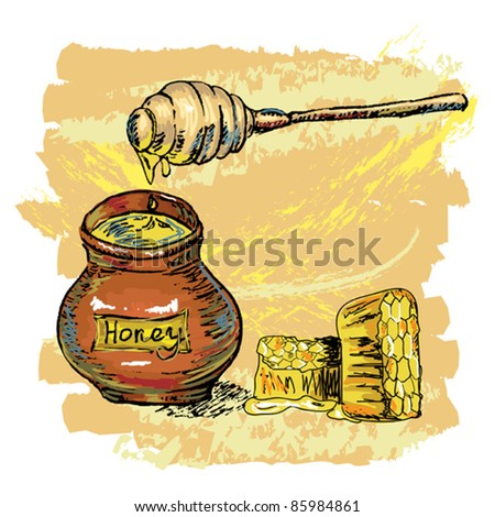 hand drawn honey jar with honeycombs, created as artistic painterly style, elements are grouped, easy to edit - stock vector