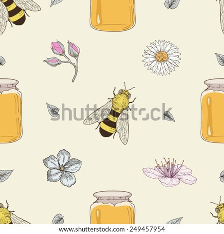 Hand drawn honey jars, bees and flowers seamless pattern. Vintage engraving style
