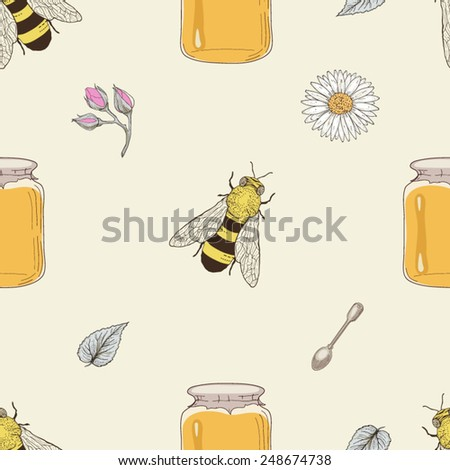 Hand drawn honey jars, spoons, bees and flowers seamless pattern. Vintage engraving style - stock vector