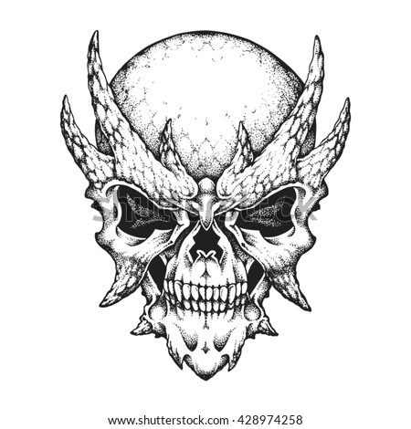 Hand drawn horned skull. Vector illustration