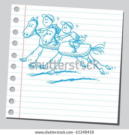 Hand drawn horse racing - stock vector