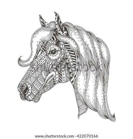 Handdrawn Horse Ethnic Floral Doodle Pattern Stock Vector 422070166