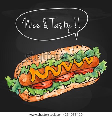 Hand Drawn Hot Dog Over Black Chalkboard, Watercolor Sketch,Vector Illustration For Food Design. - stock vector