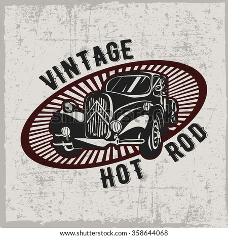 Hand drawn hot rod with olav in the middle, t-shirt design, dusty background - stock vector