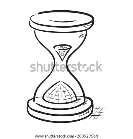 Hand drawn hourglass illustration - stock vector